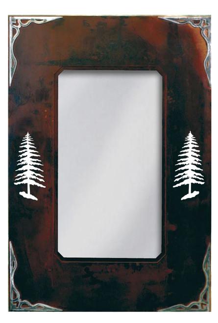 Pine Tree Burnished Metal Art Mirror - 36 Inch