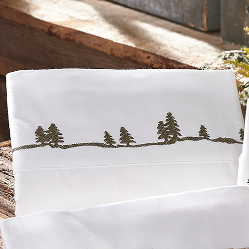Pine Tree Embroidered Sheet Set - Queen