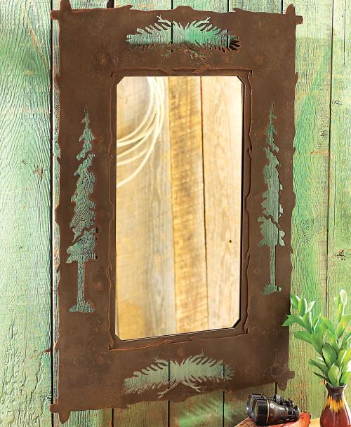 Pine Tree Metal Mirror