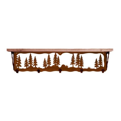 Pine Trees 34 Inch Pine Hook Shelf
