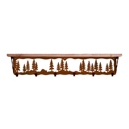 Pine Trees 42 Inch Pine Hook Shelf