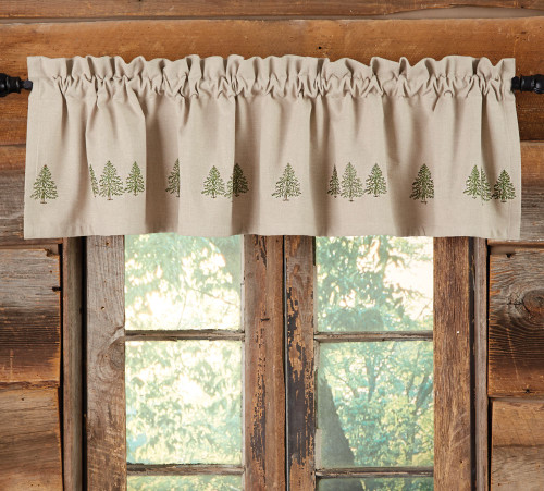 Pine Trees Embroidered Valance