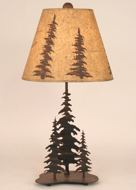 Pine Trees Metal Art Table Lamp