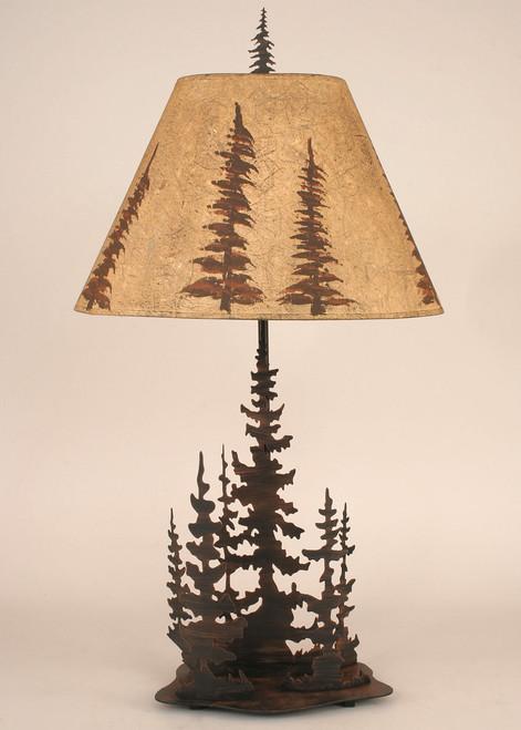 Pine Trees Round Metal Art Table Lamp