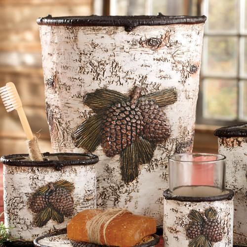Pinecone & Birch Waste Basket