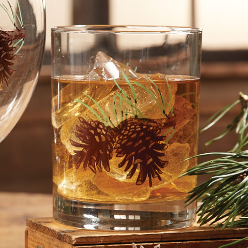 Pinecone and Needles Double Old Fashioned Glasses - Set of 4 - BACKORDERED UNTIL - 01/15/2022