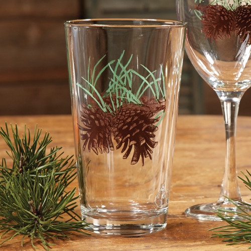 Pinecone and Needles Iced Tea Glasses - Set of 4 - BACKORDERED UNTIL - 01/15/2022
