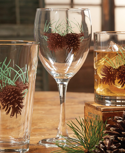 Pinecone and Needles Wine Glasses - Set of 4 - BACKORDERED UNTIL - 01/15/2022