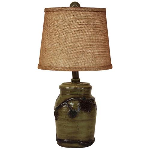 Forest Mini Pinecone Accent Lamp- Burlap Shade