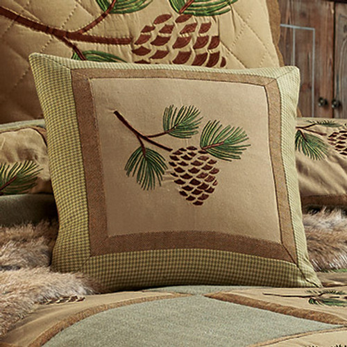 Pinecone Forest Square Pillow