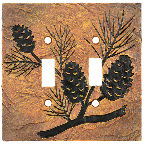 Pinecone Forest Stone Double Switch Cover