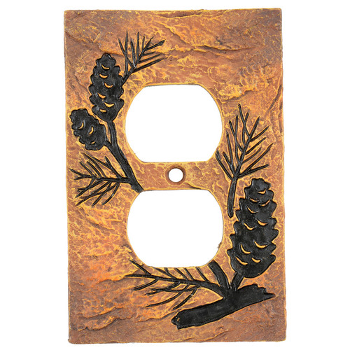 Pinecone Forest Stone Outlet Cover