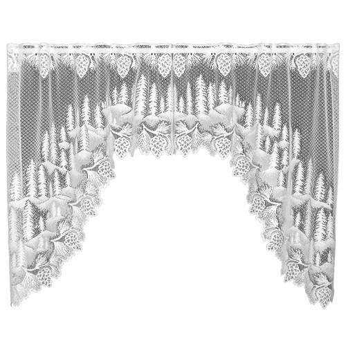 Pinecone Hollow White Swag Pair - 70 x 38