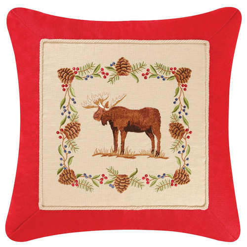 Pinecone Moose Embroidered Pillow