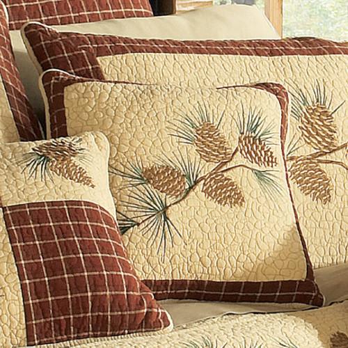 Pinecone Plaid Branch Pillow