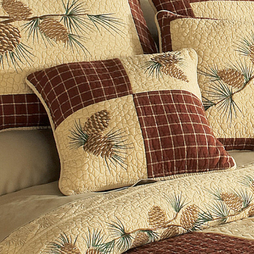 Pinecone Plaid Embroidered Corners Pillow