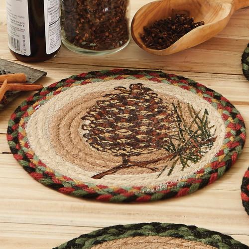 Single Pinecone Round Jute Trivet