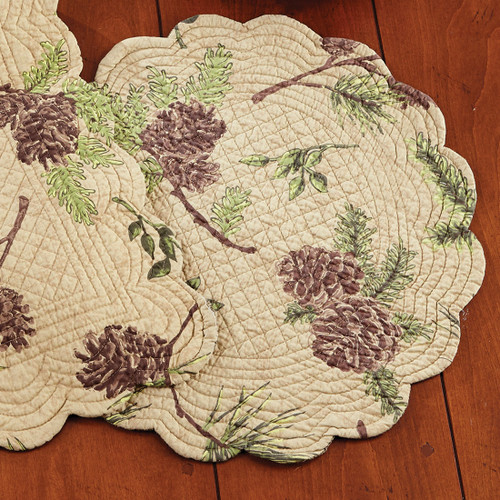 Pinecone Valley Round Placemat - BACKORDERED UNTIL 8/23/2021