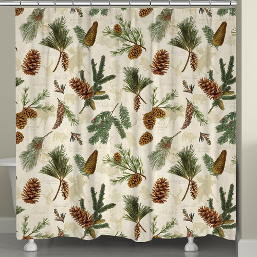 Pinecones and Wildlife Shower Curtain