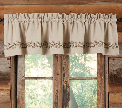 Pinecones Embroidered Valance