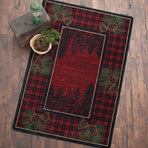 Pinecones Forest Plaid Rug - 5 x 8