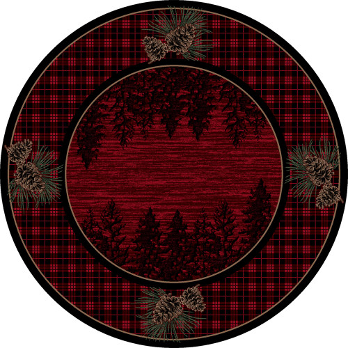 Pinecones Forest Plaid Rug - 8 Ft. Round