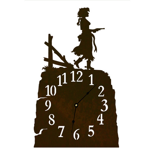 Pistol Cowgirl Table Clock