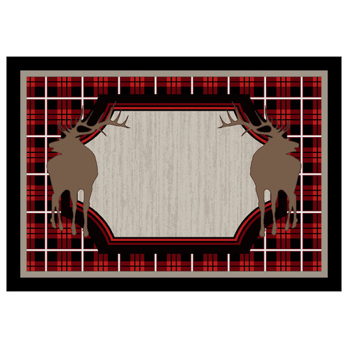Plaid Elk Rug - 3 x 4