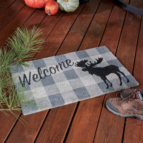 Plaid Moose Welcome Doormat