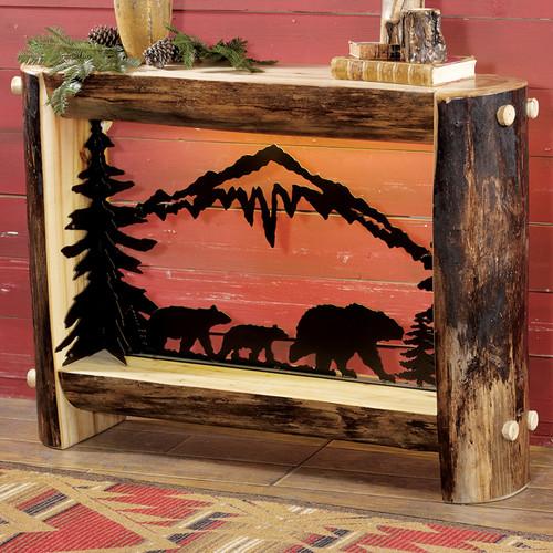 Aspen Log Bear Family Table