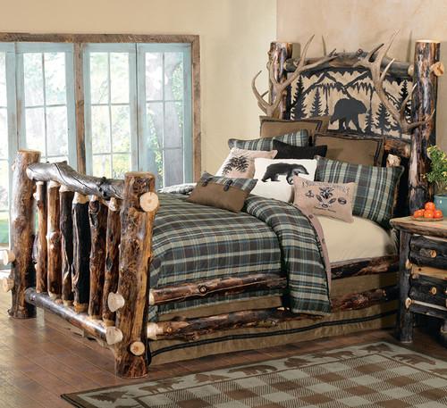 Aspen Log & Antler Bed with Metal Art Bear - King