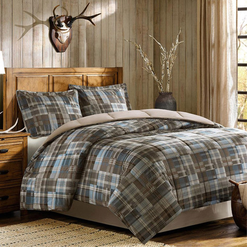 Quilted Plaid Comforter Set - Full/Queen
