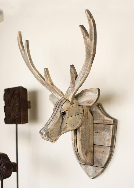Recycled Wood Deer Head Wall Hanging