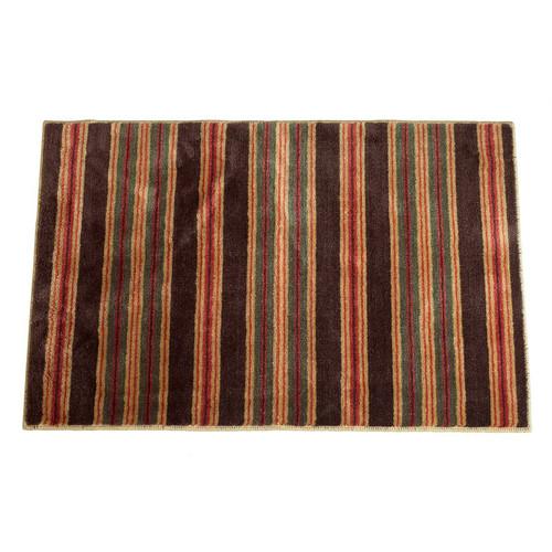 Red & Brown Striped Bath Rug