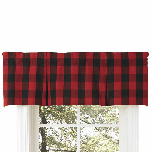 Red Buffalo Check Lined Pleated Valance
