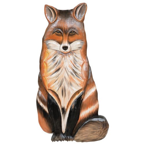 Red Fox Carved Wood Wall Art - BACKORDERED UNTIL 10/20/2021