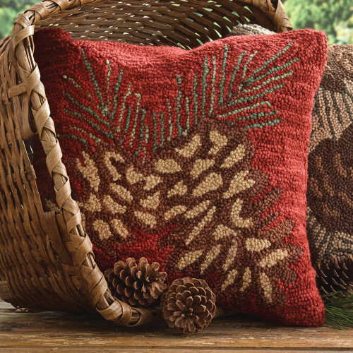 Red Pinecone Hooked Pillow Cover