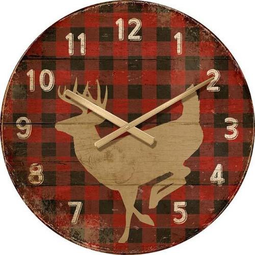 Red Plaid Deer Wall Clock