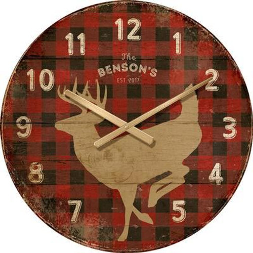 Red Plaid Deer Wall Clock - Personalized