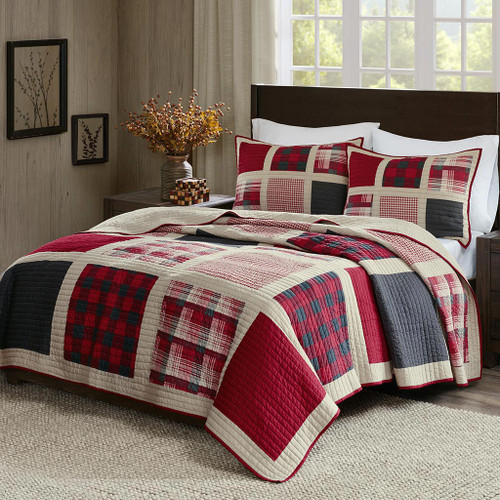 Red Plaid Patches Quilt Mini Set - King/Cal King