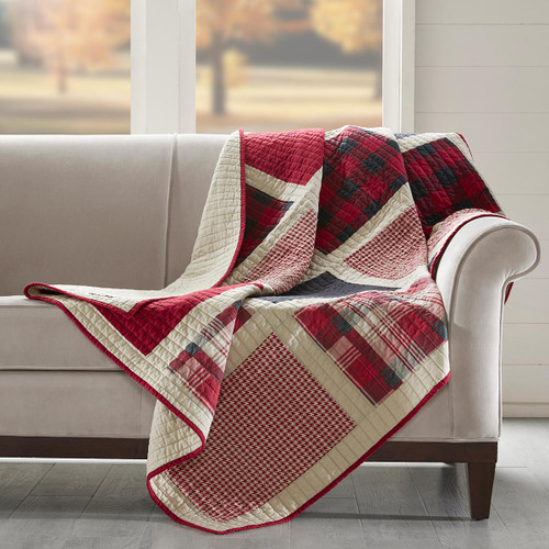Red Plaid Patches Quilted Throw