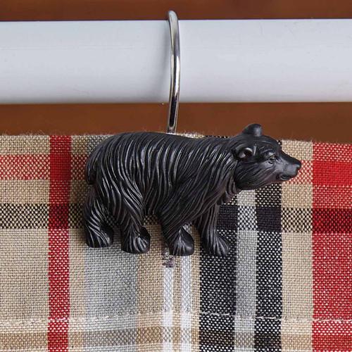 Resin Black Bear Shower Curtain Hooks - Set of 12