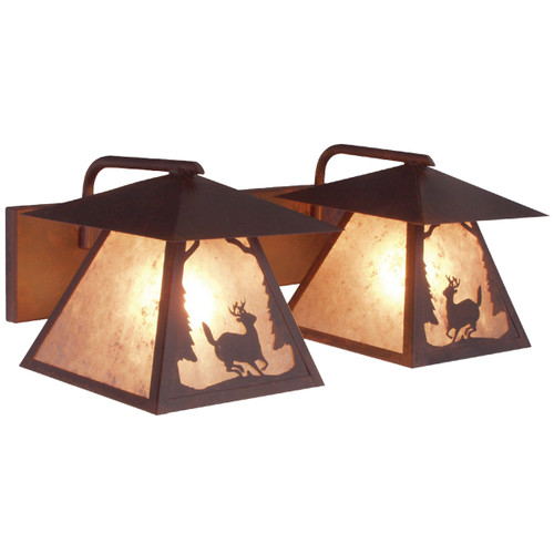 Riverton Deer Twin Vanity Light - Rust