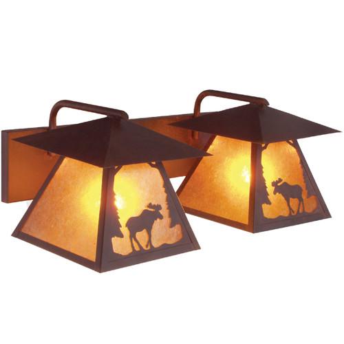 Riverton Moose Twin Vanity Light - Rust