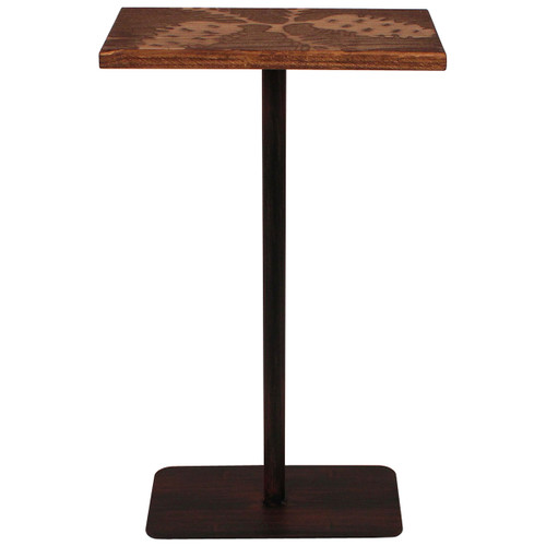 Wood Top Drink Table with Pine Cone Accent