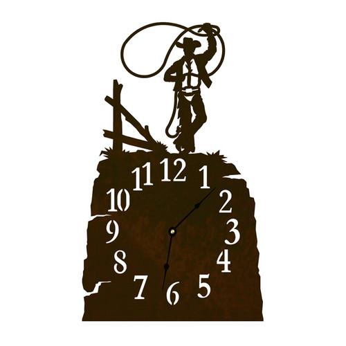 Roping Cowboy Table Clock