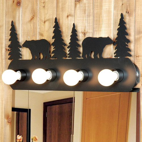 Rustic Bear Vanity Light Fixture (4 Light