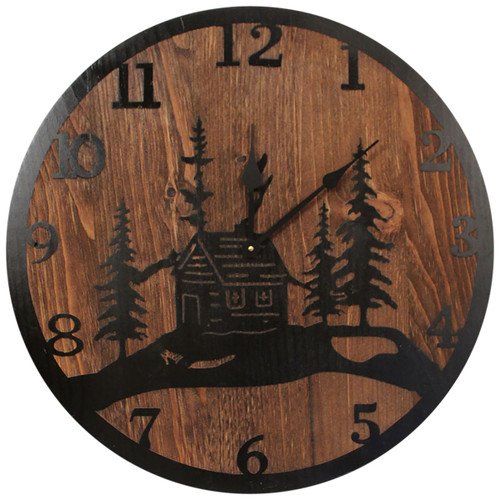 Round Etched Cabin Scene Wall Clock