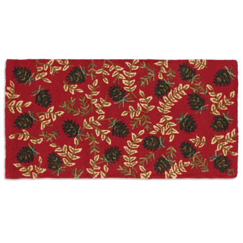 Ruby Pinecones Hooked Wool Accent Rug