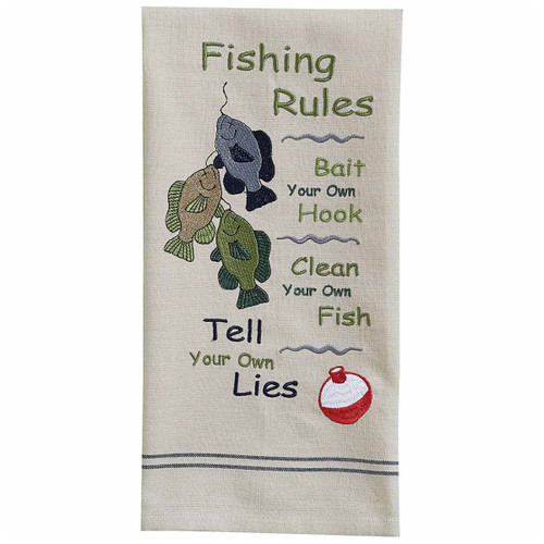 Rules for Fishing Embroidered Dishtowels - Set of 6